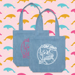 Load image into Gallery viewer, Sad Chair Club denim tote bags