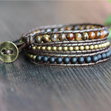 Triple Strand Leather Beaded Bracelet with Tiger Eye, Copper and Black Stone Beads
