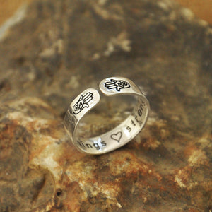 Silver Hamsa Symbol Finger Ring. Customize with Your Own Personal Message