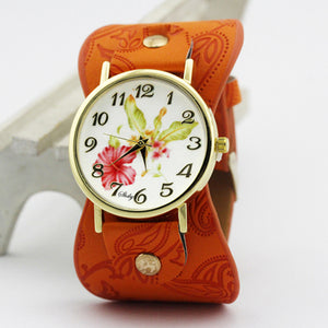 New Arrival! Printed leather Bracelet Wide Band Wristwatch with Flowers. Gift Idea???