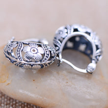 Vintage Look 925 Sterling Silver Earrings For women. Basket Shaped Hollow Flower Design. Fine Jewelry