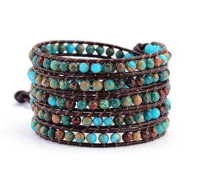 Colorful Boho Natural Stone Leather Wrap Bracelet. Unisex with Semi Precious Stones
