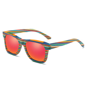 EZREAL Polarized Colorful Wooden Sunglasses for Men and Women. Bamboo Sunglasses