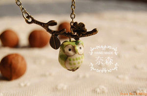 Flyleaf Cute Ceramic Twig Owl Pendant Necklace. Handpainted!