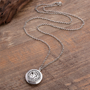 Diffuser Necklace. OM Yoga Pattern Locket Pendant. Use with Perfumed Essential Oil.