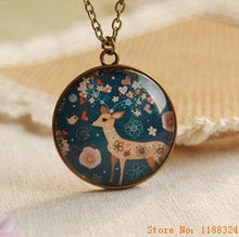 OH DEER! Flyleaf Handmade Nostalgia Bronze Glass Colored Deer Long Necklace & Pendant.