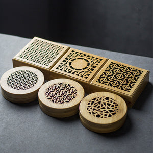 Bamboo Incense Burner, Five Unique Designs. Holds Coiled Incense Rounds.