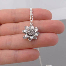 Chic Silver Ladies Lotus Flower Pendant Necklace.  Womens Yoga Jewelry, Fashion Jewelry,