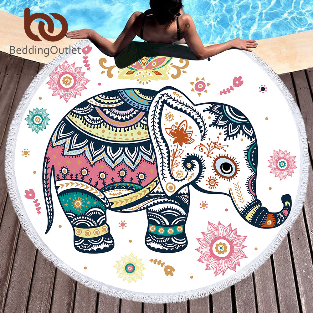 Bedding Outlet Floral Boho Round Beach Towel/Yoga mat/Blanket.