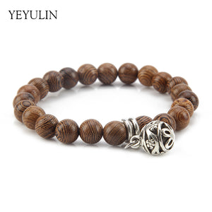 Sweet Yeyulin Natural Wood Bead Bracelet with Metal Round Charm for Women
