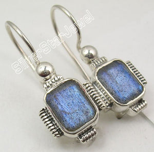 925 Silver and Semi Precious Gemstone Jewelry.  HANDCRAFTED Dangle Earrings 2.7 CM.