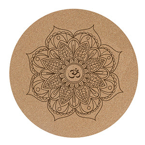 NICEGOODLarge Round Natural Rubber and Cork Mandala Yoga Mat,  Meditation Pad.
