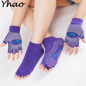 Yhao Cotton Non-slip Yoga Toe Socks & Gloves Set. Use for Pilates, Ballet, Exercise
