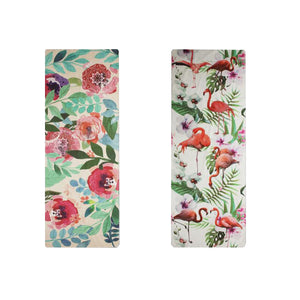 Flowers and Flamingos! Double Sided Yoga Mat/Towel for Yoga, Sports, Fitness, Beach