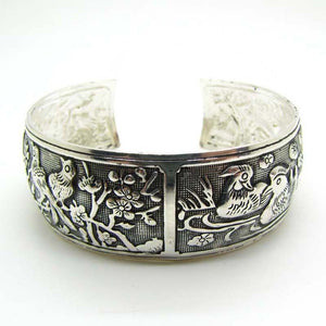 Women's Bracelet with Birds, Plum Blossom and Flowers. Tibet Silverplated Cuff Bracelet