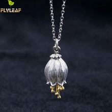 Flyleaf 100% 925 Sterling Silver Golden Campanula Flower Necklace Pendant For Women.