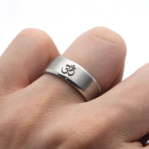 Mens 316L Stainless Steel OM Symbol Finger Ring in Silver or Black