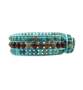 New! Women's Handmade Cuff Bracelet with SnakeSkin Jasper, Picasso Jasper and Sunflower Button Closure