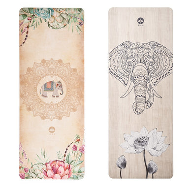 Elephants!  Natural Rubber Yoga Mat. Ultra-thin and Slip-Resistant