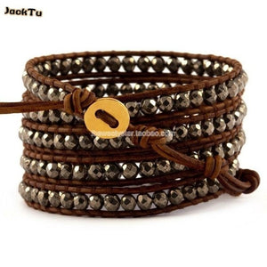 Shimmering Pyrite and Leather Wrap Bracelet for Women or Men
