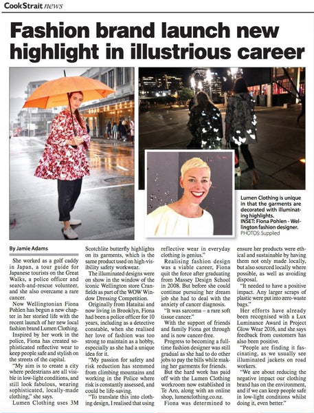 Lumen Clothing reflective wear features in Cook Strait News, Wellington