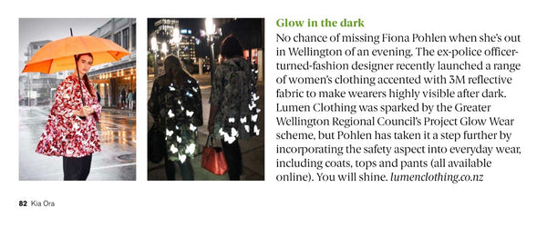 Lumen Clothing feature in Kia Ora Magazine January 2019
