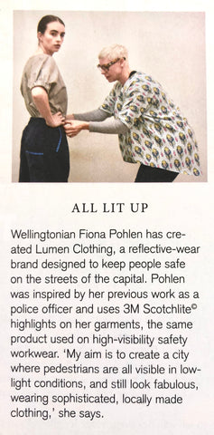 Lumen Clothing featured in Capital Magazine, November 2018