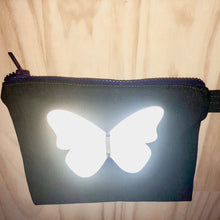 Zero Waste Zip Bag blue denim with illuminated silver butterfly by Lumen Clothing