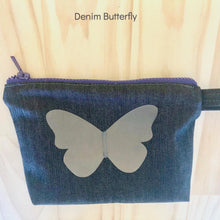 Zero Waste Zip Bag blue denim with silver butterfly by Lumen Clothing