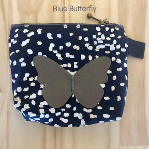 Zero Waste Zip Bag blue cotton with white spots with silver butterfly by Lumen Clothing