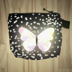 Zero Waste Zip Bag blue cotton with white spots with illuminated silver butterfly by Lumen Clothing