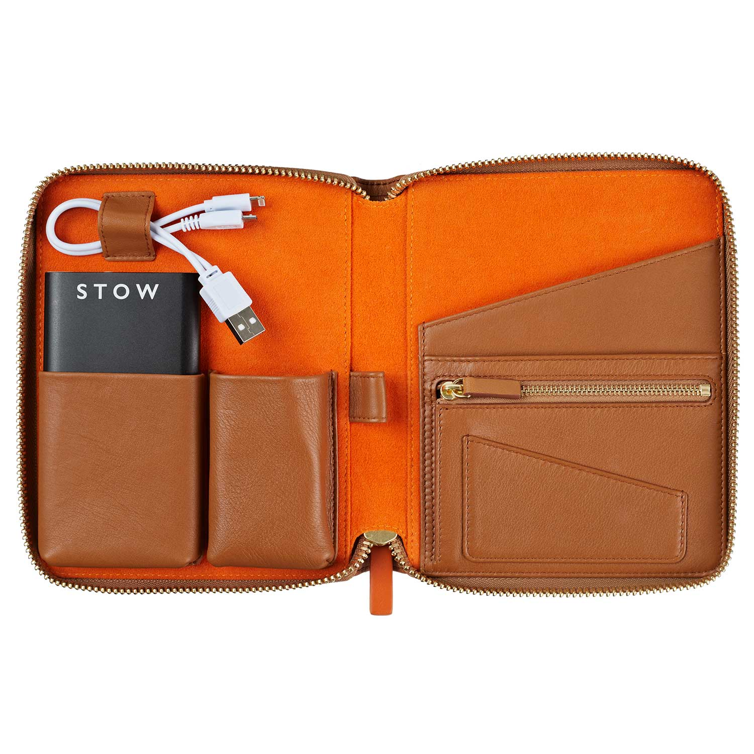Mini Reiseorganizer Leder Cognac/Orange - Gustavia Shop