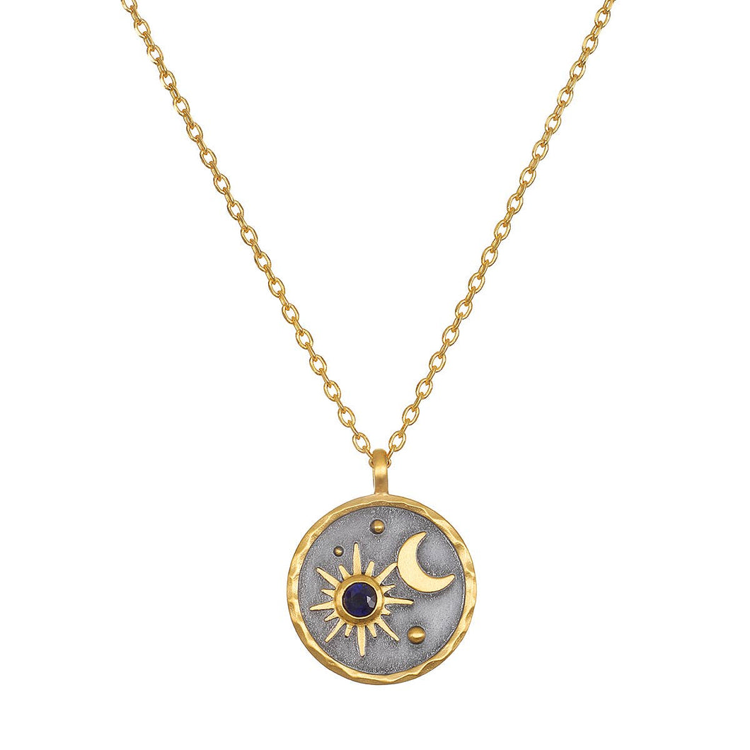 Sataya - September Blue Sapphire Sun + Moon Necklace