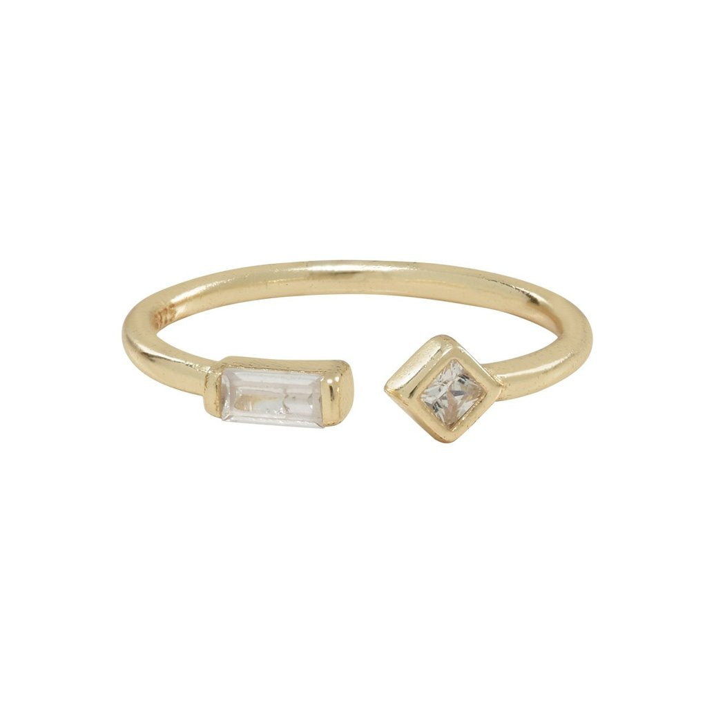 Ofina - Open Band CZ Baguette Ring