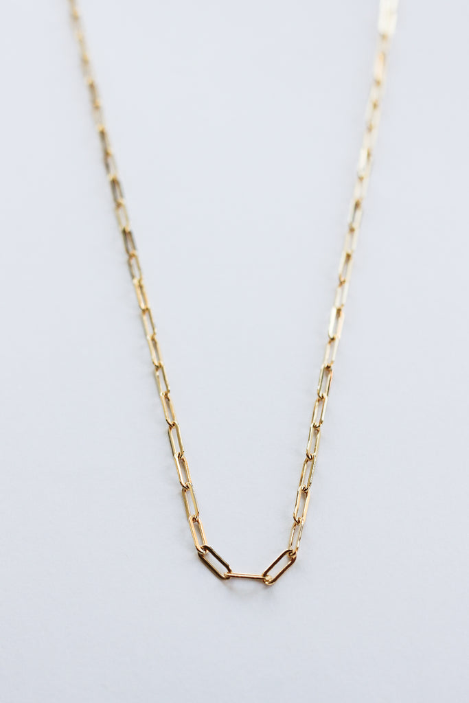 "GIA 14k Gold Fill Paperclip Necklace-15"" Chain"