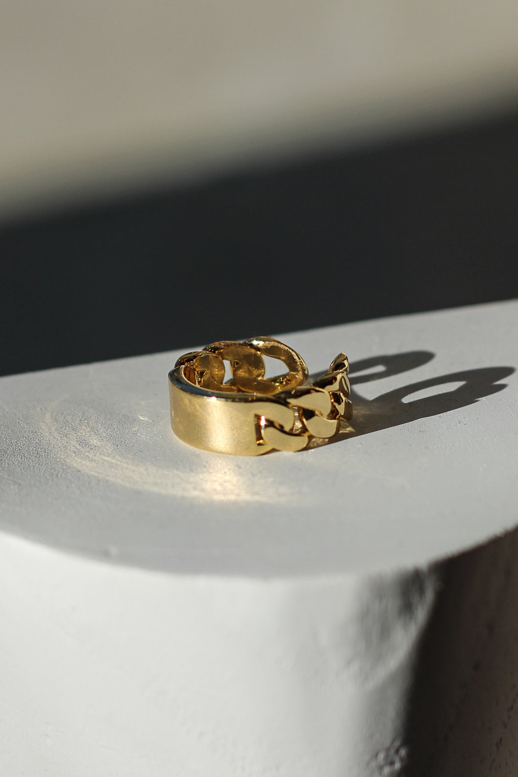 Raptor-Gold Plated-Ring-Chain Plaque Ring