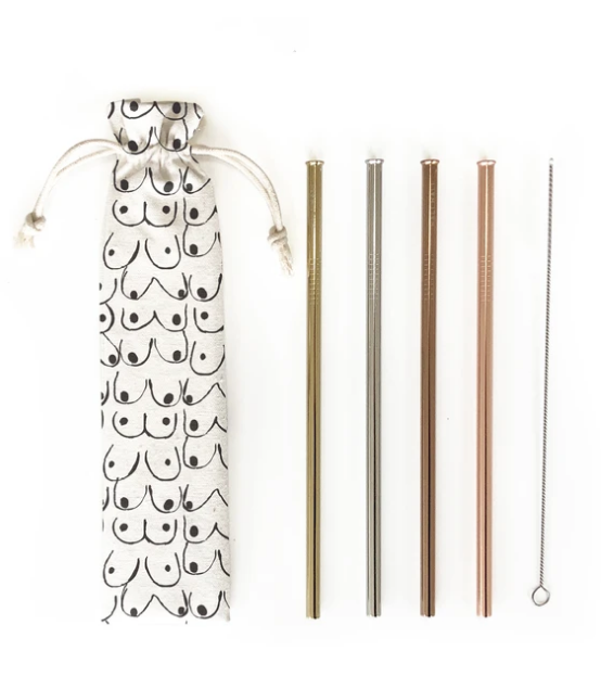 Reusable Straws 6 Piece Set-Love Your Body Print