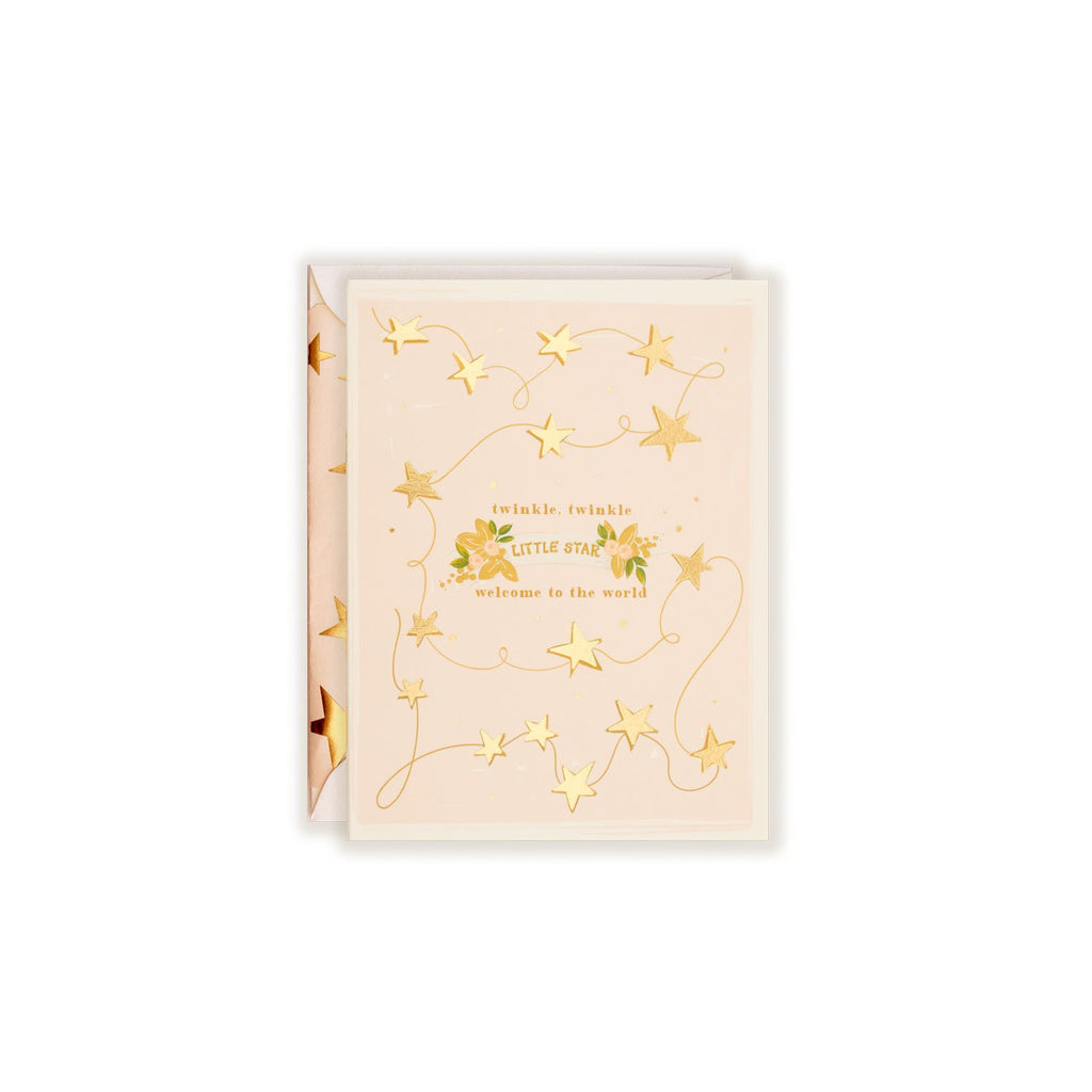First Snow - Twinkle Twinkle Baby Card - Blush