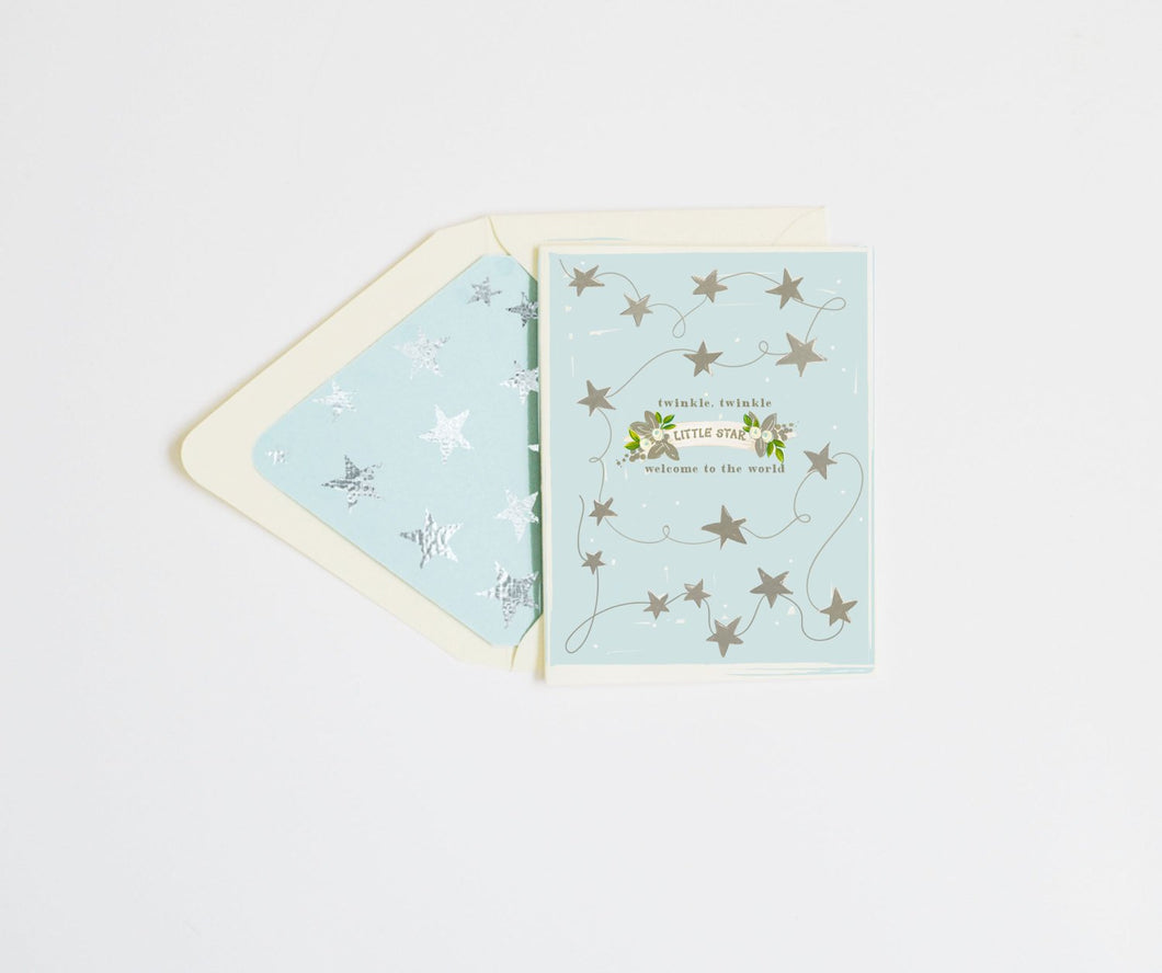 First Snow - Twinkle Twinkle Baby Card - Blue