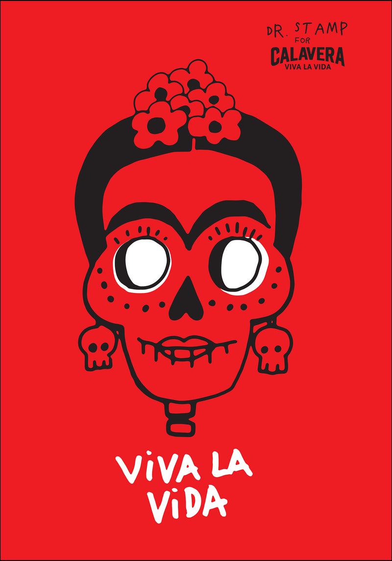 Poster di Frida Kahlo rosso by Dr. Stamp