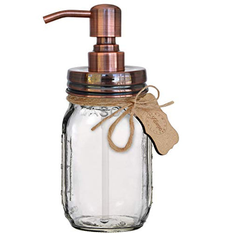Premium Rustproof Stainless Steel Mason Jar Soap Pump/Lotion Dispenser COPPER