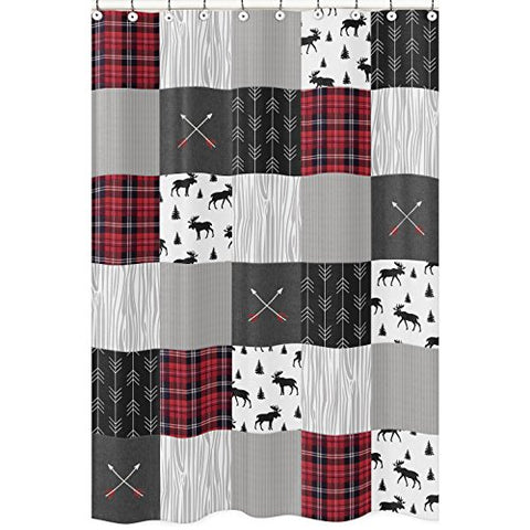 Grey, Black and Red Woodland Plaid and Arrow Bathroom Fabric Shower Curtain