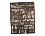 Rustic Bathroom Rules Sign 11 x 14