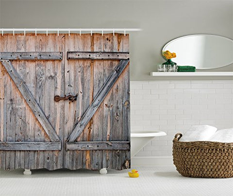 Old Wooden Barn Door Shower Curtain