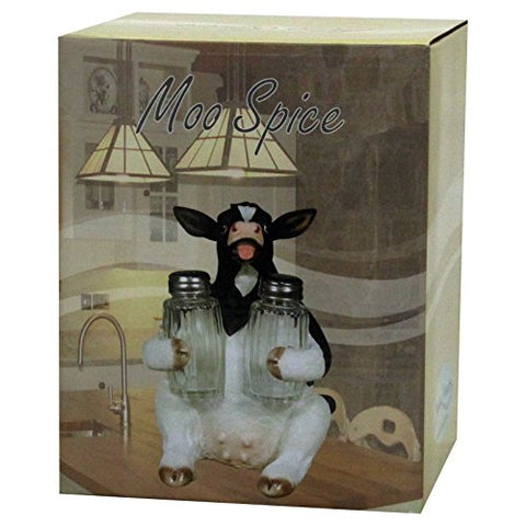 Holstein Cow Glass Salt and Pepper Shaker Set with Holder - Calico Trails at Clear Creek Farm