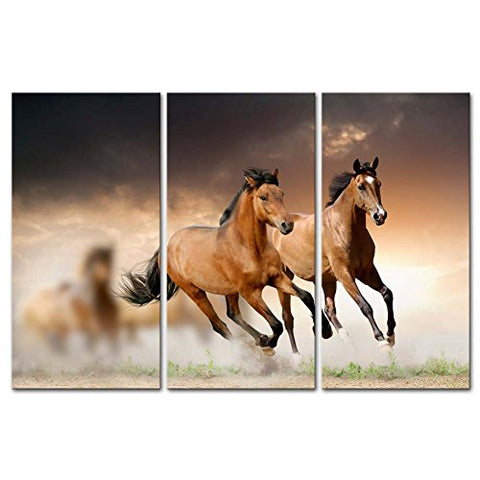 Canvas Print Wall Art Painting: Running Wild Brown Horses Galloping in Sunset 3 Piece Panel Paintings - Calico Trails at Clear Creek Farm