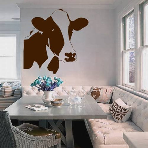 Cow Head Wall Decal (22x22):