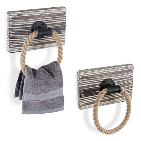 Rustic Wall-Mounted Torched Wood & Rope Towel Rings, Set of 2
