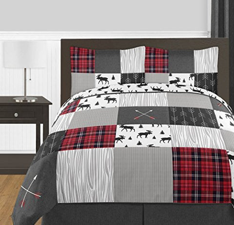 Grey, Black and Red Woodland Plaid and Arrow Rustic Full/Queen  Comforter Set 3 Pieces-Flannel Moose Gray: