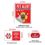 "Pet Alert Fire Rescue Sticker - (4) 5"" x 4"" Window Door Decal - (2) Animal Care Wallet Cards - (1) Pet Home Alone Key Tag"